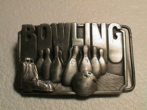 BOWLING SHOWING PINS BAG BALL SHOES MENS PREOWNED METAL SISKIYOU BELT BUCKLE