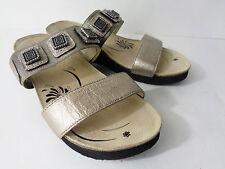 ABEO 4059 US 5M Bronze metallic leather slide wedge sandal shoe w pewte trim