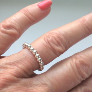 Stretch Sterling Silver Beaded Rings, Toe Thumb Ring,Choose Size,Stocking Filler