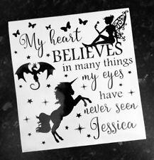 Believe In Fairies Unicorns Dragons Vinyl Decal Sticker Box Frame Personalised
