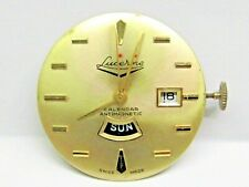 VINTAGE GENTS LUCERNE WRIST WATCH MOVEMENT 1 JEWEL WITH DAY/DATE, 2ND HAND.