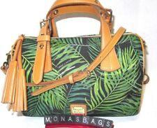 Dooney & Bourke Siesta Kendra Black With Green Palm Leaves Satchel Bag NWT $248
