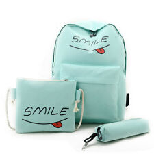 3pcs Canvas School Travel Backpack Cute Casual Shoulder Laptop Bag For Teen Girl