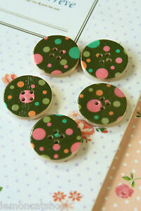 Polka Dot Wood Buttons 5pc printed Grey sewing scrapbooking cardmaking crafts