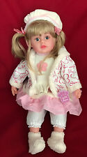 LARGE 60CM DOLL WITH HAIR PINK CREAM OUTFIT HAT GIRLS BIRTHDAY PARTY TOY GIFT