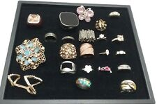 Ring Lot Vintage To Now Jewelry 22 rings, Mixed Styles, Crystals, Materials