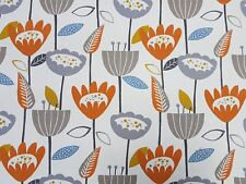 iLiv Flower Plower Tangerine Curtain Craft Upholstery Designer Fabric