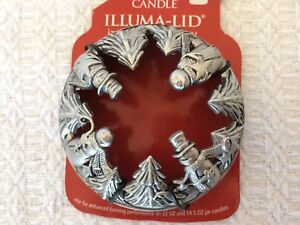 Yankee Candle Pewter Candle Lid Trees Snowmen Holiday Winter Fits 22 oz /14.5 oz