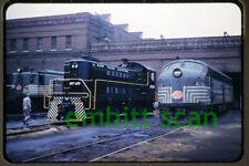 Original Slide, NYC New York Central EMD E8A #4038 ALCO S4 #8595 Harmon NY 1960s