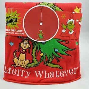 """Dr. Suess The Grinch Christmas Merry Whatever 48"""" Embroidered Tree Skirt New"""