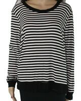 Downeast Women's Top White Size Large L Knit Striped Long Sleeve $44 #991