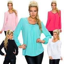 Langarm Damenblusen, - tops & -shirts mit Rundhals-Ausschnitt ohne Muster
