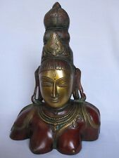 Old look solid brass BUST OF PARVATI traditional statue hand made collectible.