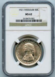 1921 50c Missouri Commemorative Half Dollar NGC MS 62