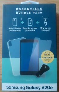 Essentials Bundle Pack Samsung Galaxy A20e case, screen protector, car charger