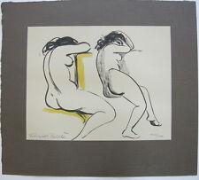 Franziska Bilek (1906-1991) Zwei weibliche Akte Orig Farblithografie signiert
