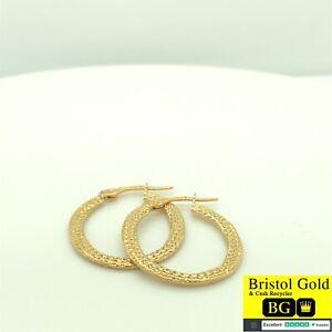 Medium Italian Gold On Silver 925 Creole Hoop Earrings-Fully Hallmarked-Free P&P