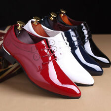 2018 FASHION MENS OXFORDS PATENT LEATHER POINTY TOE LACE UP FORMAL DRESS SHOES