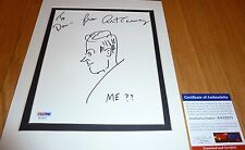 "PSA/DNA ART CARNEY RARE HAND DRAWN ARTWORK AUTOGRAPHED-SIGNED WITH ""ME??"" A12156"