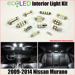 For 2009-2014 Nissan Murano WHITE LED Interior Light Accessories Package Kit 10x