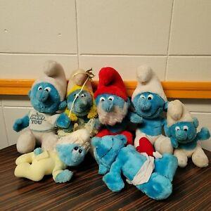 "1980's Smurf VTG Papa Smurfette Baby Cupid 9"" Plush Toy Stuffed Animal Lot of 7"