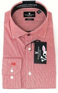 Psycho Bunny Long Sleeve Men Dress Shirt Red Modern Stretch Geometric $89 NEW
