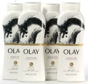 4 Bottles Olay 12.3 Oz Hydrating Glow Charcoal & Mint B3 Complex Body Wash