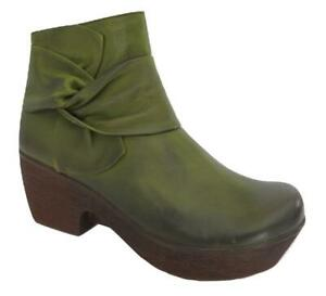 New NIB JAFA 628 Green Ruched Bow Leather Clog Platform Ankle Boots RARE UNIQUE