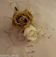 Wedding Buttonhole/Corsage Coffee & Ivory Roses Ivory Ribbon Gold Ball Sprays