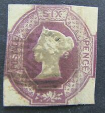 More details for great britain - qvic 1854 6d lilac embossed - 4 complete margins - nicely used