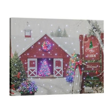 Christmas Tree Farm Fiber Optic Lighted Canvas Wall Art Hanging with Remote