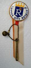 Vintage 1969 Kansas City Royals Pin-Back Button w/ Ribbon & Charm B2077