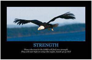 STRENGTH Christian Art Print Poster, Inspirational Motivational Bible Scripture