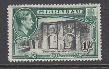 Gibraltar Sc 114a MLH. 1942 1sh green & black KGVI and Southport Gate, Perf 14