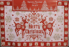 NWT DEER MERRY CHRISTMAS 4 FABRIC PLACEMATS SET RED PINK SHINE SPARKLE HOLIDAY