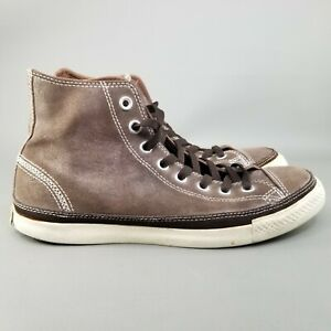Converse Chuck Taylor All Star Hi Suede Shoes Mens Size 8.5 Brown Cream White