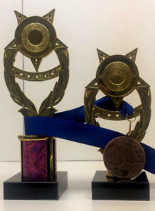 Set of 3 awards 1st 2nd 3rd trophies & bronze medal for any sport FREE Engraving
