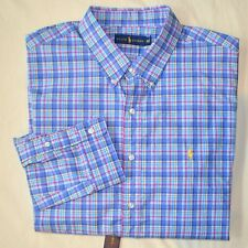 New XXL 2XL POLO RALPH LAUREN Men button down dress shirt blue plaid yellow pony