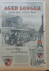 Large 1956 newspaper ad for Griesedieck Bros. Beer - horse drawn trolley, Aged