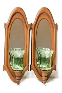 Vintage Pair Metal Faux Wood Wall Sconces Oval Mirror Votive Candle Holder
