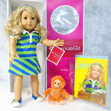 "American Girl DOLL 18"" LANIE IN MEET OUTFIT Blonde Hazel Eyes Orangutan Book Box"
