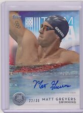 2016 TOPPS OLYMPIC MATT GREVERS SILVER AUTOGRAPH AUTO CARD /30 ~ USA SWIMMING
