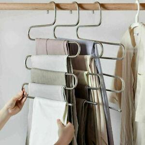 5pcs S-Shape Clothes Pants Trouser Hanger Multi Layer Storage Rack Closet Space
