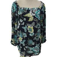 Ann Taylor Loft blouse top size L large blue yellow floral 3/4 sleeve outlet