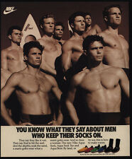1989 NIKE AQUA Socks - Buff Shirtless Semi Nude Men - Surfboard - VINTAGE AD