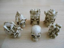 Gothic Skulls Fantasy Model Small Resin Chess Set - Teak (brown) & Ivory effect