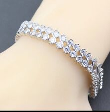 White Topaz Diamonique Spiral Gemstone Sterling Silver Bracelet ,Bangle