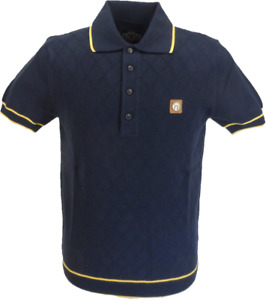 Trojan Records Mens Navy/Mustard Diamond Fine Gauge Knitted Polo Shirt