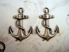 Large Oxidized Silver Plated Brass Anchor Stampings (2) - Sosg6206