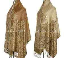Triple Layer Pashmina & Silk PaisleyShawl-Golden #D